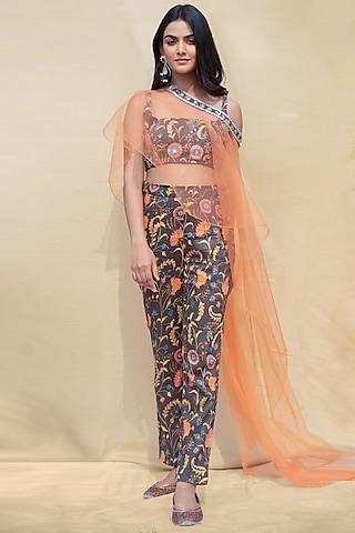 Lava Smoke & Orange Embroidered Pant Set by Shreya Agarwal