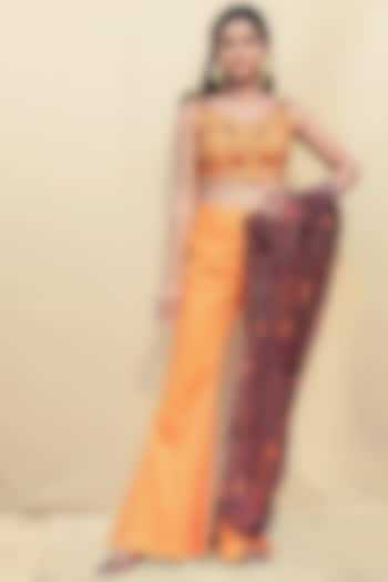Orange Embroidered Pant Set by Shreya Agarwal