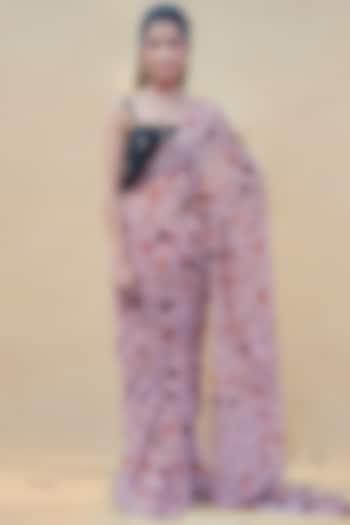 Coral Blush & Black Floral Pre-Draped Saree Set by Shreya Agarwal