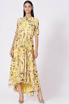 Yellow Printed Asymmetrical Tunic by Radical-POPULAR PRODUCTS AT STORE