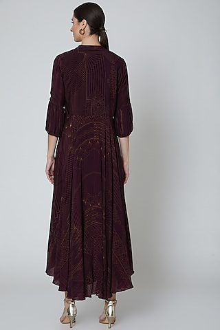 Aubergine Embellished High-Low Tunic  by Radical