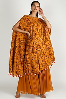 Mustard Printed Kaftan & Pants by Shristi Chetani-WEDDING GIFTING