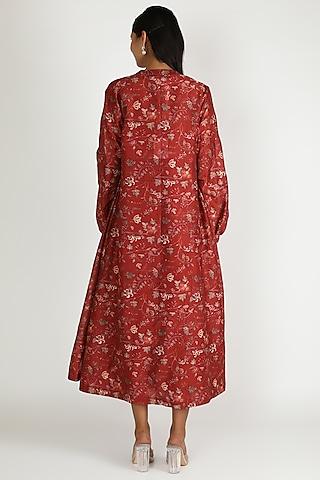 Red Printed Jacket Set by Shristi Chetani