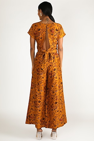 Mustard Printed Pants Set by Shristi Chetani