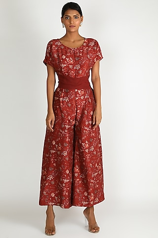 Red Printed Jumpsuit With Belt by Shristi Chetani