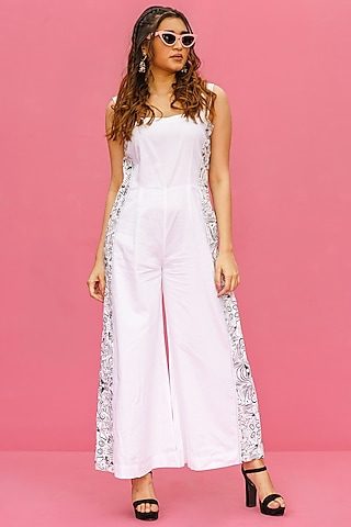 White Cotton Printed Jumpsuit by Shristi Chetani