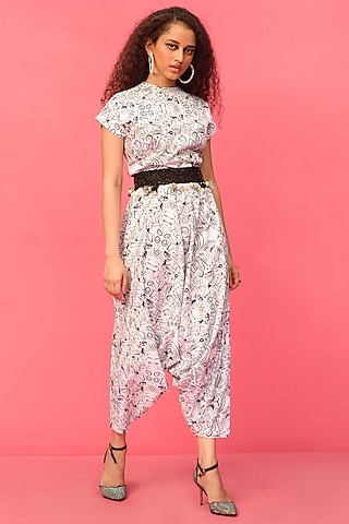 White Printed Drop Crotch Jumpsuit by Shristi Chetani