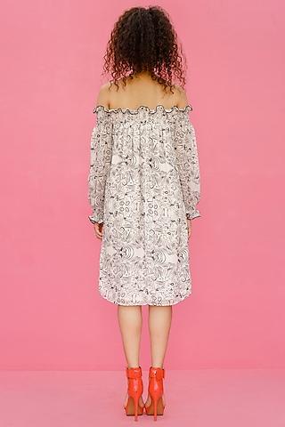 White Printed Off Shoulder Dress by Shristi Chetani