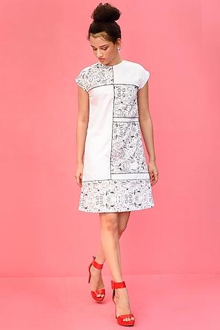White Printed Knee Length Dress by Shristi Chetani