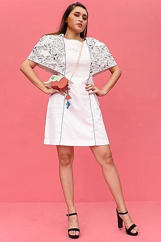 White Cotton Printed Knee Length Dress by Shristi Chetani