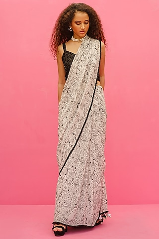 White Embroidered Saree Set by Shristi Chetani