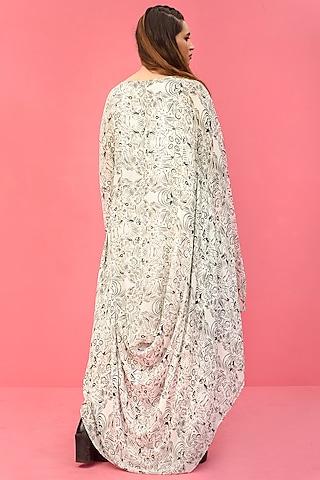 White Printed Draped Dress With Belt by Shristi Chetani