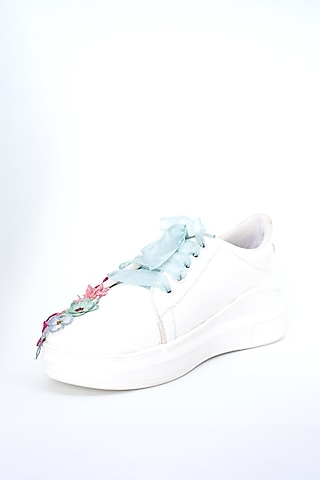 White & Pink Sneakers With Floral Detailing by Saree Sneakers