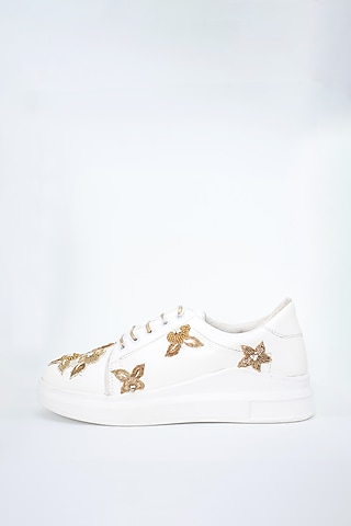 White Sequins & Zari Detailed Sneakers by Saree Sneakers