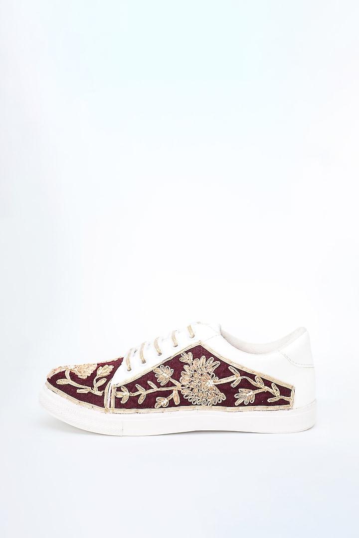 Maroon Gota Detailed Sneakers by Saree Sneakers