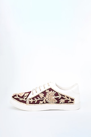 Maroon Gota Detailed Sneakers by Saree Sneakers