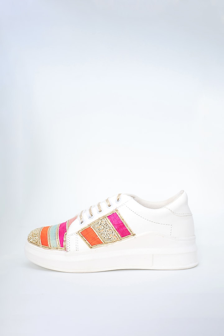 Multicolored Gota Detailed Sneakers by Saree Sneakers
