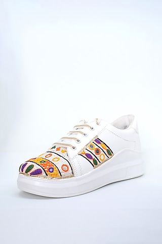 Multicolored Thread Work Sneakers by Saree Sneakers