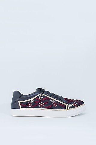 Black & Maroon Embroidered Sneakers by Saree Sneakers