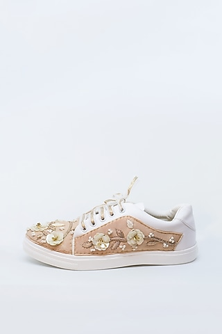Nude & Pearl White Embroidered Sneakers by Saree Sneakers
