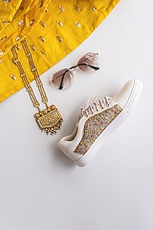 Grey Sequins Embroidered Sneakers by Saree Sneakers
