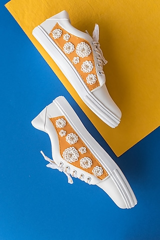 Haldi Yellow Embroidered Sneakers by Saree Sneakers