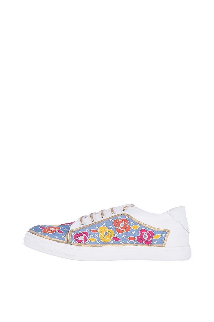 Blue Floral Embroidered Sneakers by Saree Sneakers