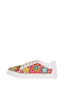 Pataka Pink Floral Embroidered Sneakers by Saree Sneakers