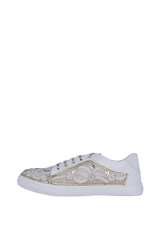 White Zari Embroidered Sneakers by Saree Sneakers