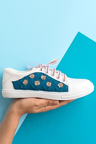Blue Sequins Embroidered Sneakers by Saree Sneakers