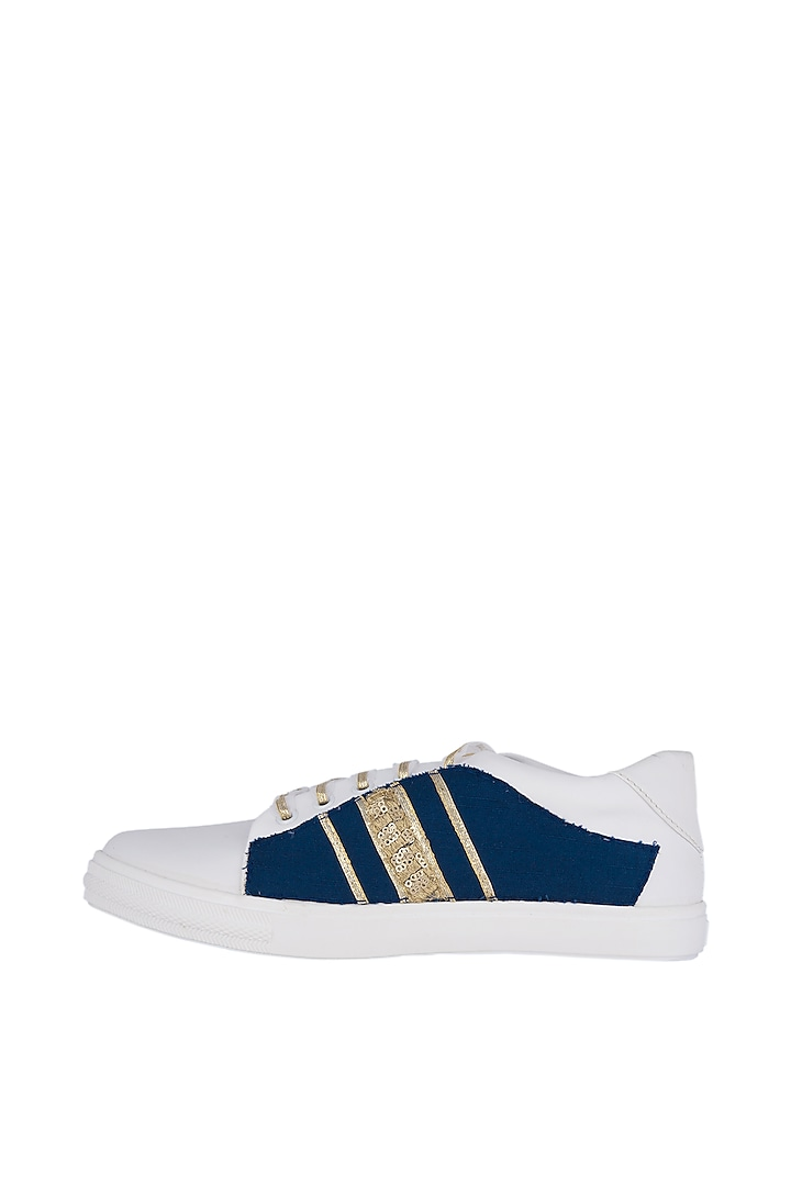 Blue Denim Embroidered Sneakers by Saree Sneakers