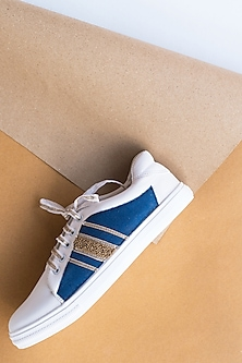 Denim Blue Embroidered Sneakers by Saree Sneakers