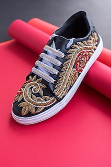 Black & Gold Embroidered Sneakers by Saree Sneakers
