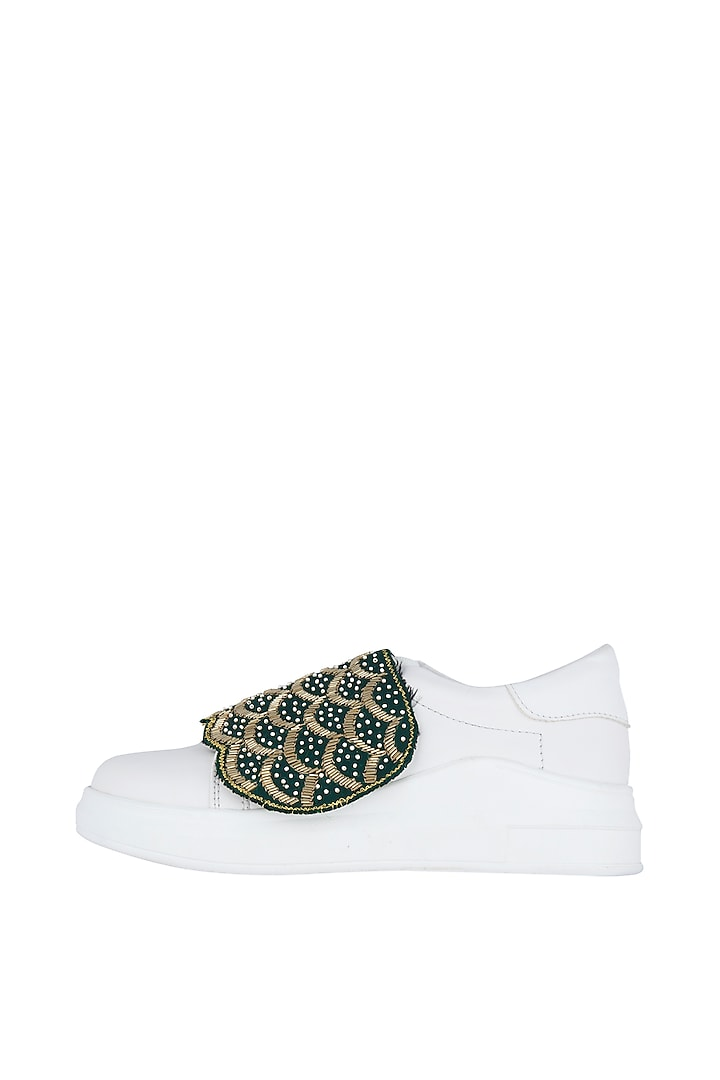 White & Green Embroidered Sneakers by Saree Sneakers