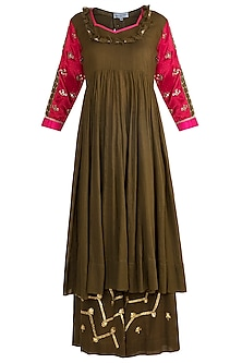 Olive Green Embroidered Kalidaar Kurta Set by Sareeka H & Mukkta Dograa