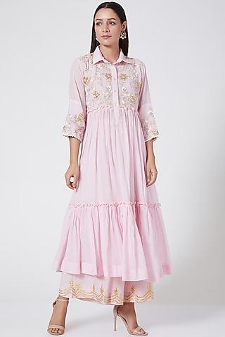 Pale Pink Embroidered Kurta Set by Sareeka H & Mukkta Dograa