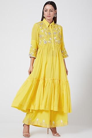 Bright Yellow Embroidered Kurta Set by Sareeka H & Mukkta Dograa
