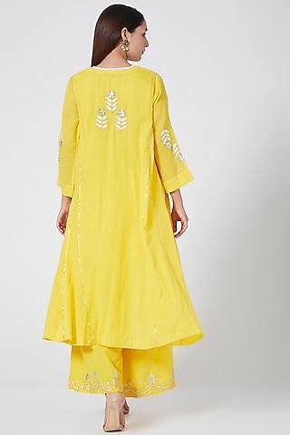 Bright Yellow Embroidered Kalidar Kurta Set by Sareeka H & Mukkta Dograa