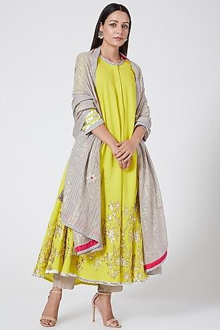 Yellow Embroidered Kurta Set by Sareeka H & Mukkta Dograa