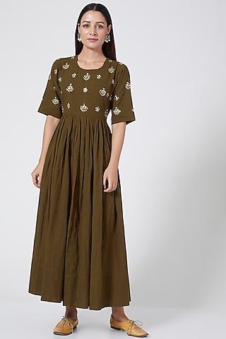 Olive Green Hand Embroidered Dress by Sareeka H & Mukkta Dograa