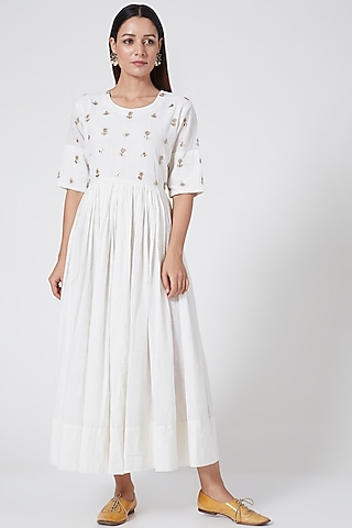 Pearl White Hand Embroidered Dress by Sareeka H & Mukkta Dograa