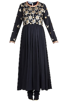 Navy Blue Embroidered Anarkali Set by Sareeka H & Mukkta Dograa
