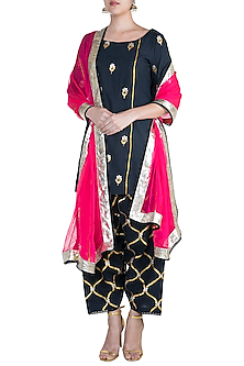 Navy Blue Embroidered Kurta Set by Sareeka H & Mukkta Dograa