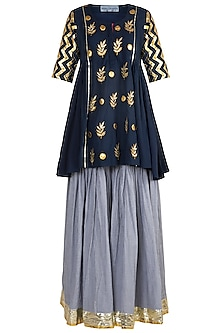 Blue Embroidered Checkered Gharara Set by Sareeka H & Mukkta Dograa
