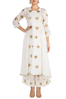 White Embroidered Asymmetric Kurta With Pants by Sareeka H & Mukkta Dograa