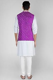 Bright Purple Embroidered Bandhani Bundi Jacket by SEIRRA THAKUR