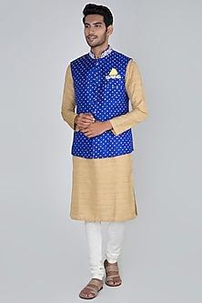 Bottle Blue Embroidered Bandhani Bundi Jacket by SEIRRA THAKUR