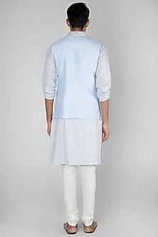 Sky Blue Embroidered Bundi Jacket by SEIRRA THAKUR