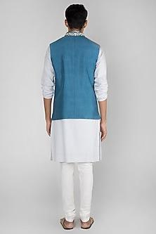 Cobalt Blue Embroidered Bundi Jacket by SEIRRA THAKUR