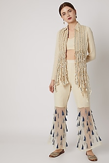 White Embroidered Jacket With Bustier & Pants by A-Sha by Rishi & Vibhuti